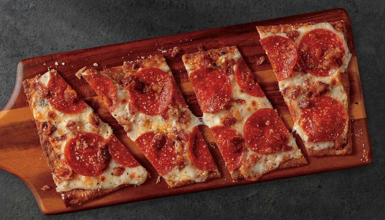 Pepperoni Keto Pizza on cutting board