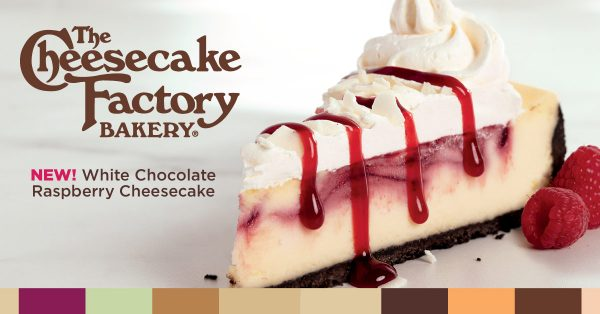 NEW! White Chocolate Raspberry Cheesecake, from The Cheesecake Factory Bakery